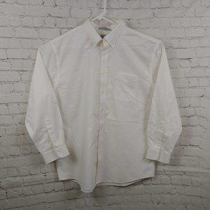 LL Bean Off-white Wrinkle Free Button Down Shirt